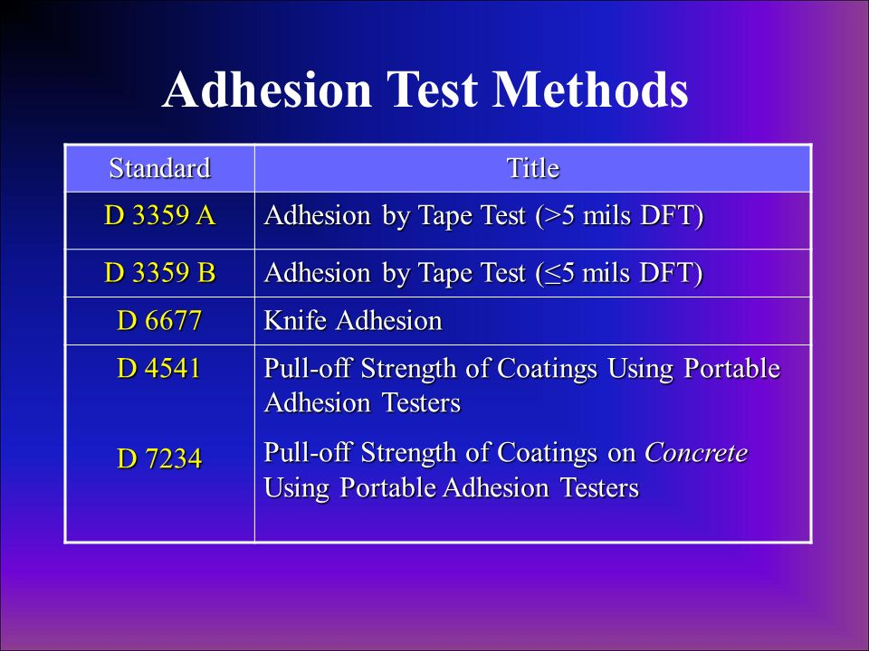 Adhesion Test Methods StandardTitle D 3359 A Adhesion by Tape Test (>5 mils DFT) D 3359 B Adhesion by Tape Test (5 mils DFT) D 6677 Knife Adhesion D 4