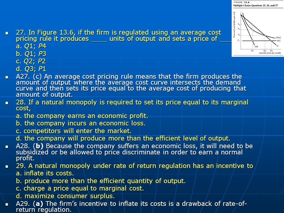 27. In Figure 13.6, if the firm is regulated using an average cost pricing rule it produces ____ units of output and sets a price of ____. 27. In Figu