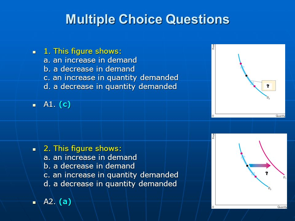 Multiple Choice Questions 1. This figure shows: 1. This figure shows: a. an increase in demand b. a decrease in demand c. an increase in quantity dema