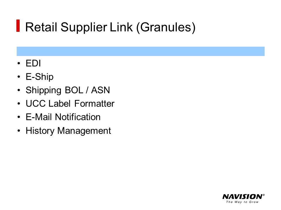 Retail Supplier Link (Granules) EDI E-Ship Shipping BOL / ASN UCC Label Formatter E-Mail Notification History Management