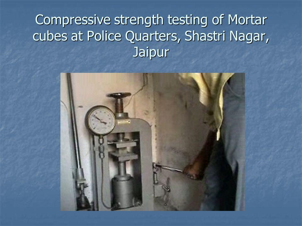 Compressive strength testing of Mortar cubes at Police Quarters, Shastri Nagar, Jaipur