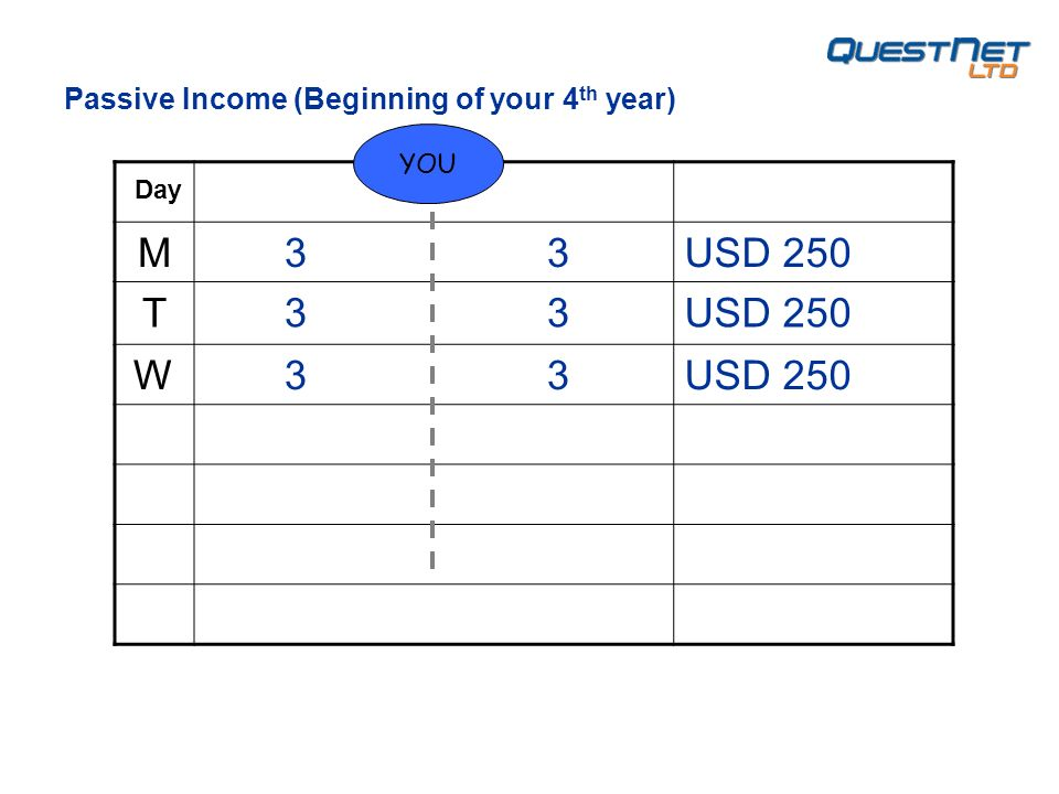 M 3 3USD 250 T 3 3USD 250 W 3 3USD 250 YOU Day Passive Income (Beginning of your 4 th year)