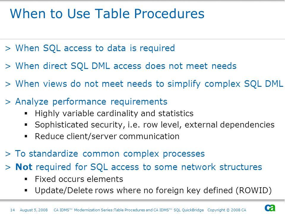14August 5, 2008 CA IDMS Modernization Series:Table Procedures and CA IDMS SQL QuickBridge Copyright © 2008 CA When to Use Table Procedures >When SQL