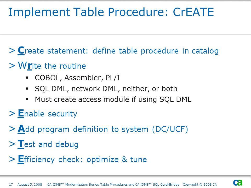 17August 5, 2008 CA IDMS Modernization Series:Table Procedures and CA IDMS SQL QuickBridge Copyright © 2008 CA Implement Table Procedure: CrEATE >C re