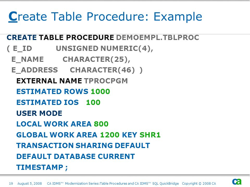 19August 5, 2008 CA IDMS Modernization Series:Table Procedures and CA IDMS SQL QuickBridge Copyright © 2008 CA C reate Table Procedure: Example CREATE
