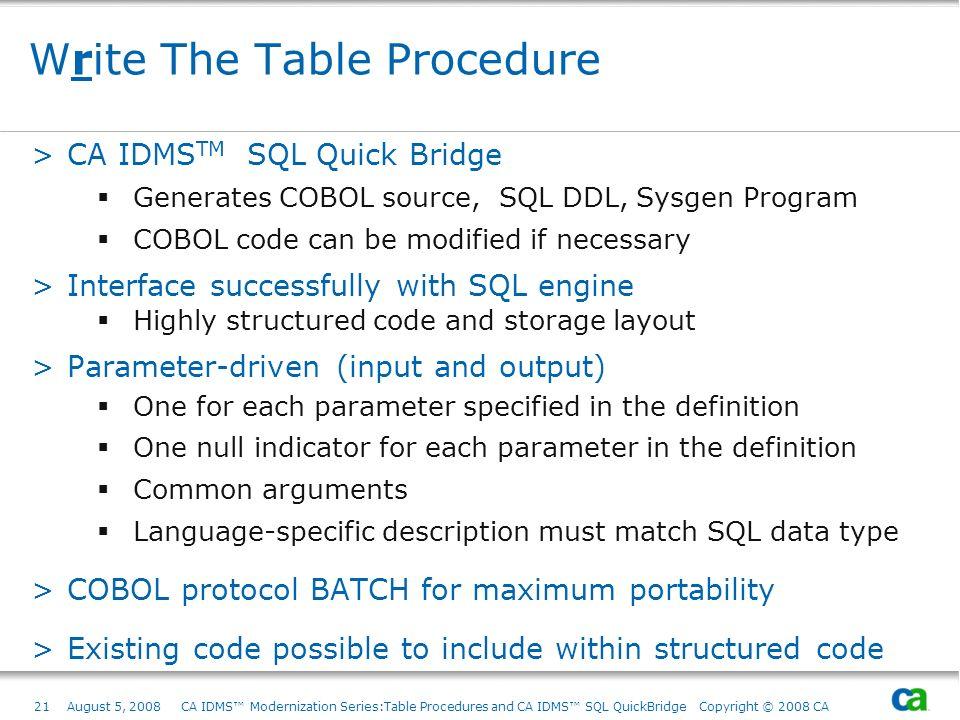 21August 5, 2008 CA IDMS Modernization Series:Table Procedures and CA IDMS SQL QuickBridge Copyright © 2008 CA Write The Table Procedure >CA IDMS TM S
