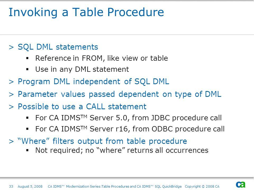 33August 5, 2008 CA IDMS Modernization Series:Table Procedures and CA IDMS SQL QuickBridge Copyright © 2008 CA Invoking a Table Procedure >SQL DML sta