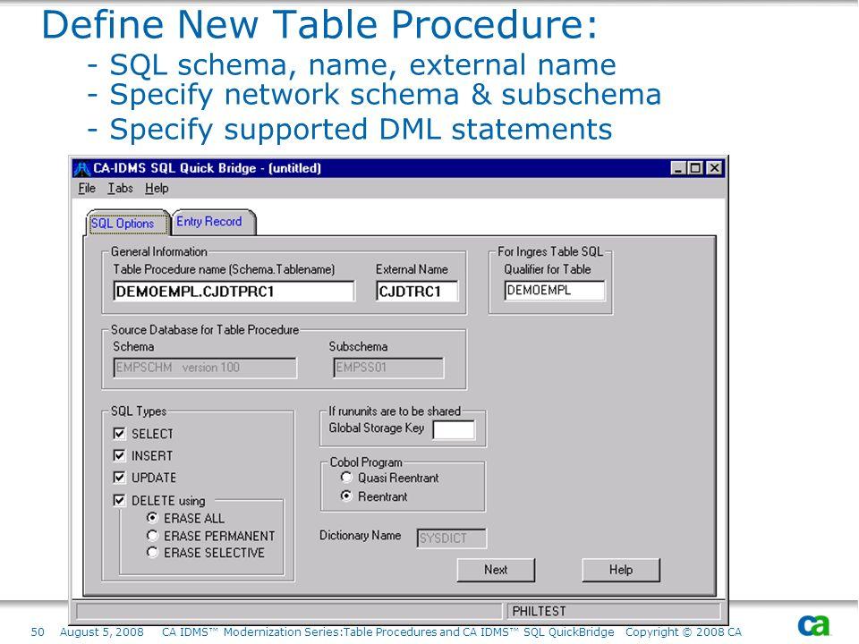 50August 5, 2008 CA IDMS Modernization Series:Table Procedures and CA IDMS SQL QuickBridge Copyright © 2008 CA Define New Table Procedure: - SQL schem