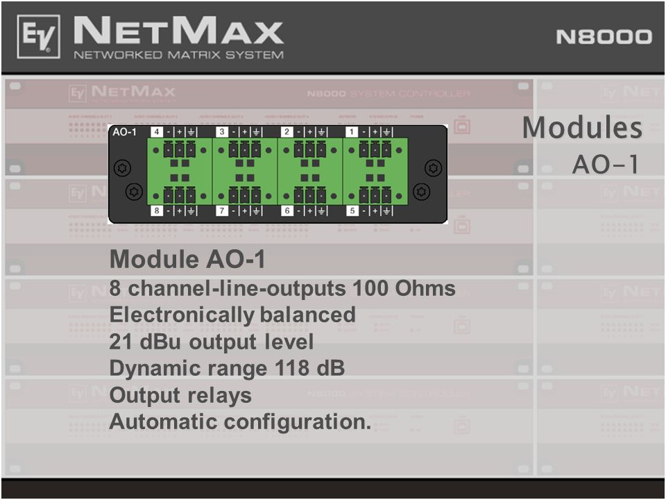Module AO-1 8 channel-line-outputs 100 Ohms Electronically balanced 21 dBu output level Dynamic range 118 dB Output relays Automatic configuration. Mo
