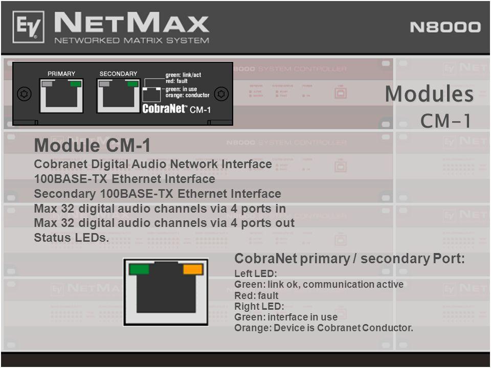 Module CM-1 Cobranet Digital Audio Network Interface 100BASE-TX Ethernet Interface Secondary 100BASE-TX Ethernet Interface Max 32 digital audio channe