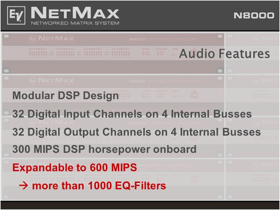 Modular DSP Design 32 Digital Input Channels on 4 Internal Busses 32 Digital Output Channels on 4 Internal Busses 300 MIPS DSP horsepower onboard Expa