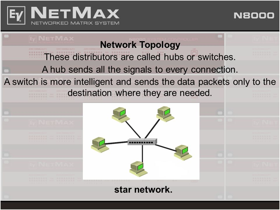 Network Topology These distributors are called hubs or switches. A hub sends all the signals to every connection. A switch is more intelligent and sen