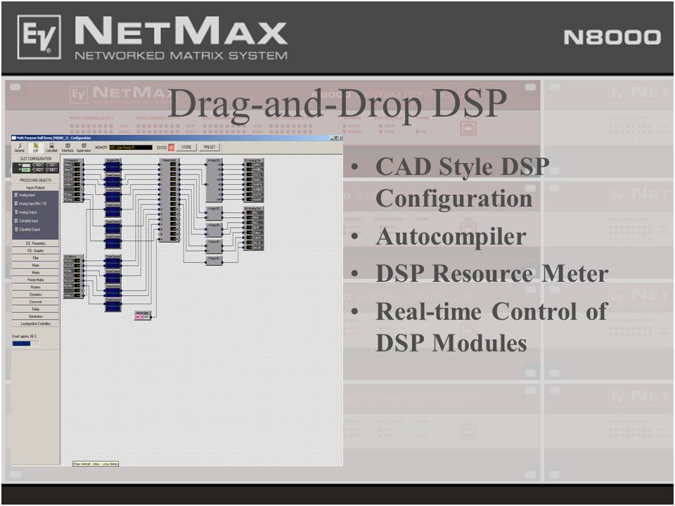 Drag-and-Drop DSP CAD Style DSP Configuration Autocompiler DSP Resource Meter Real-time Control of DSP Modules