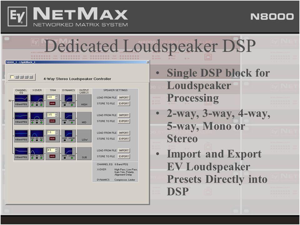 Dedicated Loudspeaker DSP Single DSP block for Loudspeaker Processing 2-way, 3-way, 4-way, 5-way, Mono or Stereo Import and Export EV Loudspeaker Pres