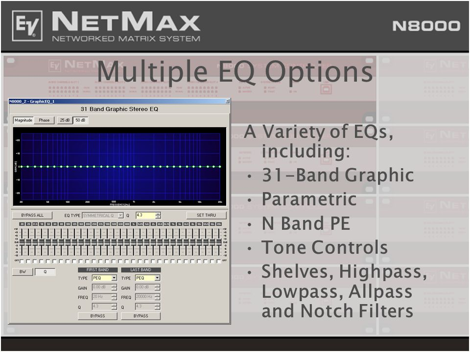 Multiple EQ Options A Variety of EQs, including: 31-Band Graphic Parametric N Band PE Tone Controls Shelves, Highpass, Lowpass, Allpass and Notch Filt