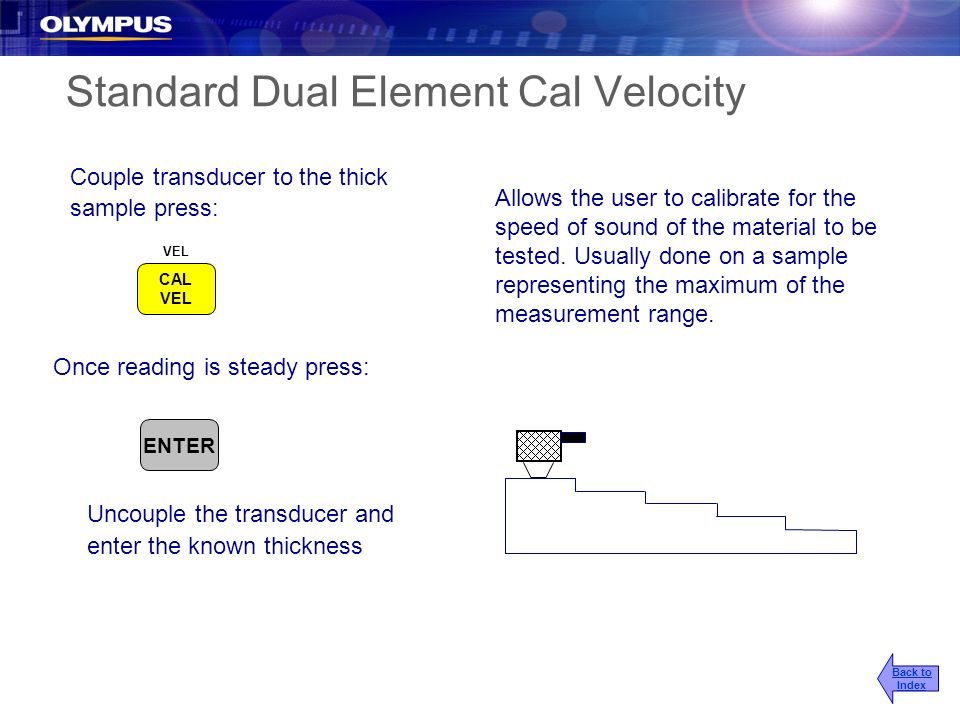 Standard Dual Element Cal Velocity Couple transducer to the thick sample press: Allows the user to calibrate for the speed of sound of the material to