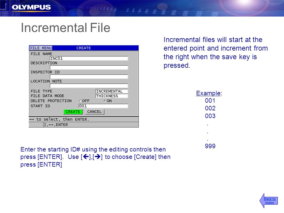 Incremental File Incremental files will start at the entered point and increment from the right when the save key is pressed. Example: 001 002 003. 99