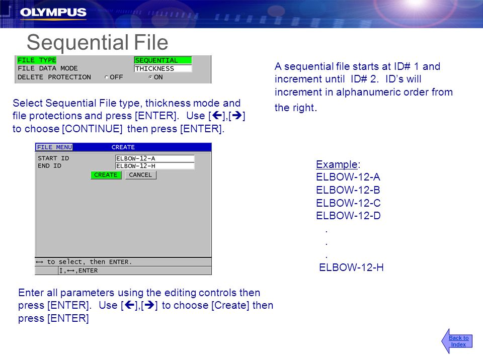 Sequential File A sequential file starts at ID# 1 and increment until ID# 2. IDs will increment in alphanumeric order from the right. Example: ELBOW-1