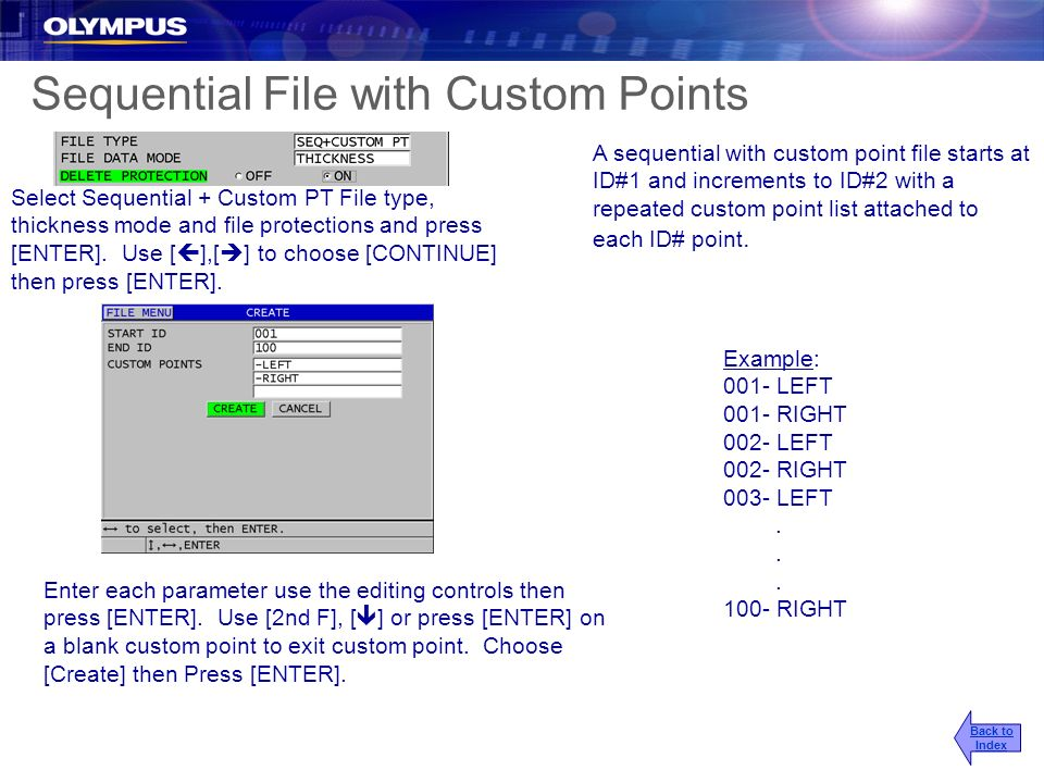 A sequential with custom point file starts at ID#1 and increments to ID#2 with a repeated custom point list attached to each ID# point. Example: 001-