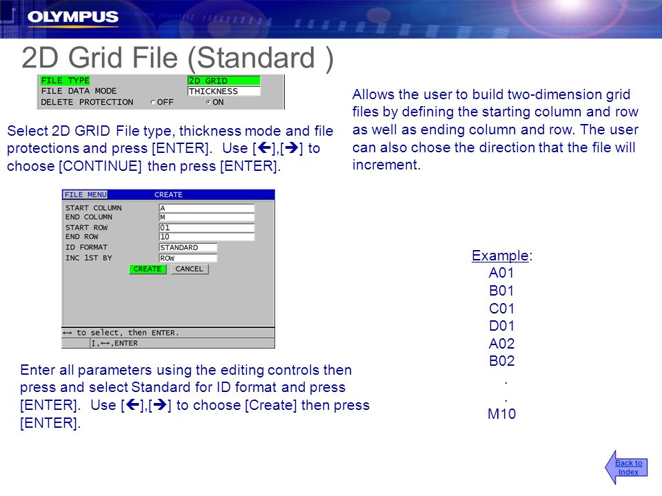 2D Grid File (Standard ) Example: A01 B01 C01 D01 A02 B02. M10 Allows the user to build two-dimension grid files by defining the starting column and r
