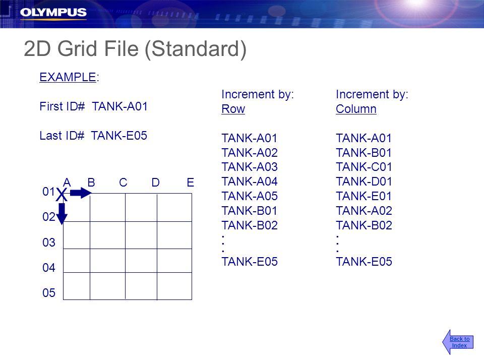 EXAMPLE: First ID# TANK-A01 Last ID# TANK-E05 Increment by: Row TANK-A01 TANK-A02 TANK-A03 TANK-A04 TANK-A05 TANK-B01 TANK-B02. TANK-E05 A B C D E 01