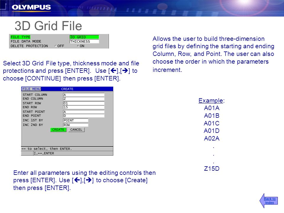 Example: A01A A01B A01C A01D A02A. Z15D Allows the user to build three-dimension grid files by defining the starting and ending Column, Row, and Point
