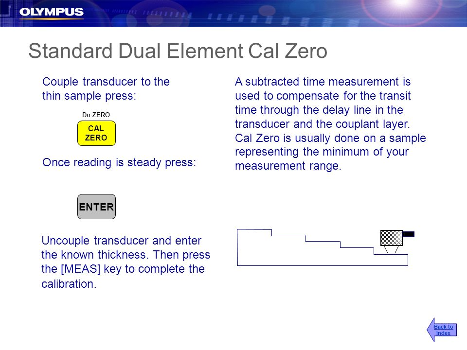 Standard Dual Element Cal Zero A subtracted time measurement is used to compensate for the transit time through the delay line in the transducer and t