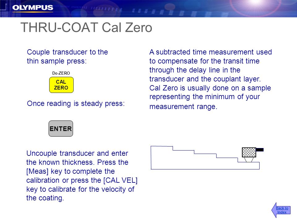 THRU-COAT Cal Zero A subtracted time measurement used to compensate for the transit time through the delay line in the transducer and the couplant lay