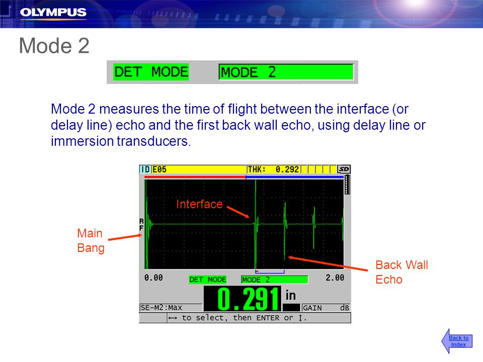 Mode 2 measures the time of flight between the interface (or delay line) echo and the first back wall echo, using delay line or immersion transducers.