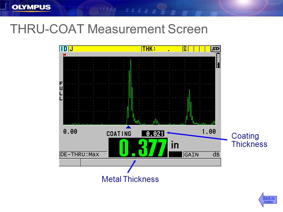 THRU-COAT Measurement Screen Metal Thickness Coating Thickness Back to Index