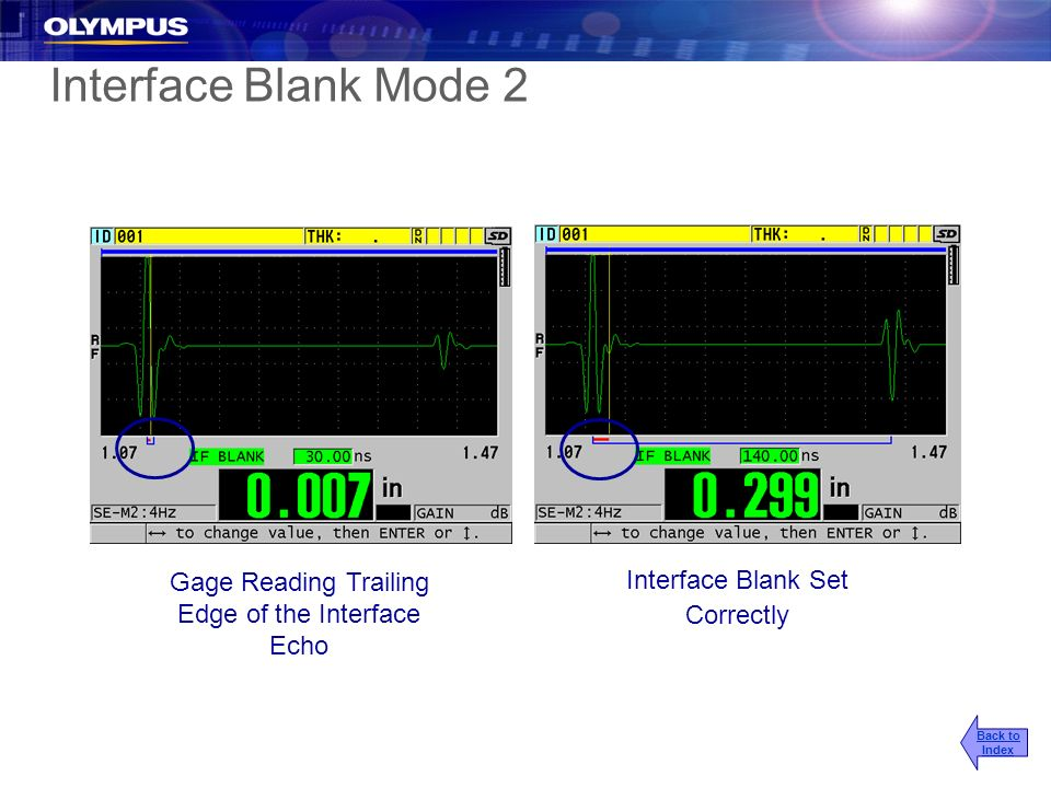 Interface Blank Mode 2 Gage Reading Trailing Edge of the Interface Echo Interface Blank Set Correctly Back to Index