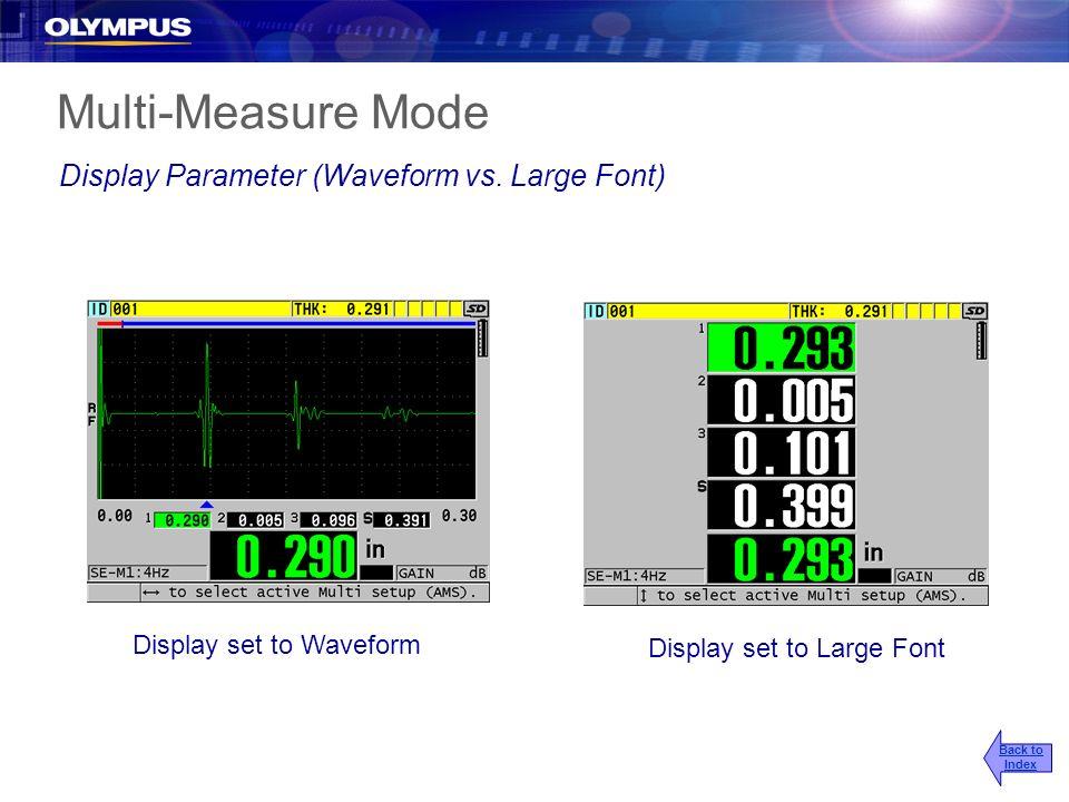 Display set to Waveform Display set to Large Font Multi-Measure Mode Display Parameter (Waveform vs. Large Font) Back to Index