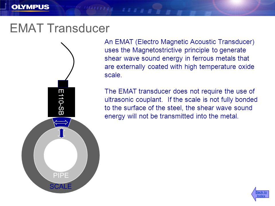 EMAT Transducer An EMAT (Electro Magnetic Acoustic Transducer) uses the Magnetostrictive principle to generate shear wave sound energy in ferrous meta
