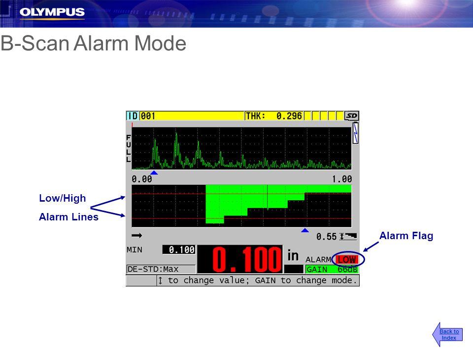 B-Scan Alarm Mode Alarm Flag Low/High Alarm Lines Back to Index
