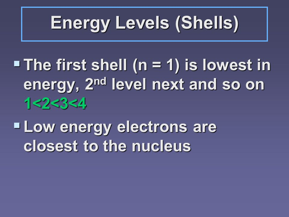 Energy Levels (Shells) The first shell (n = 1) is lowest in energy, 2 nd level next and so on 1<2<3<4 The first shell (n = 1) is lowest in energy, 2 n