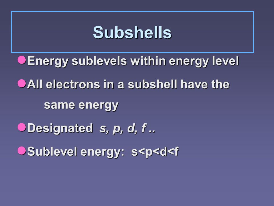 Subshells Energy sublevels within energy level Energy sublevels within energy level All electrons in a subshell have the same energy All electrons in