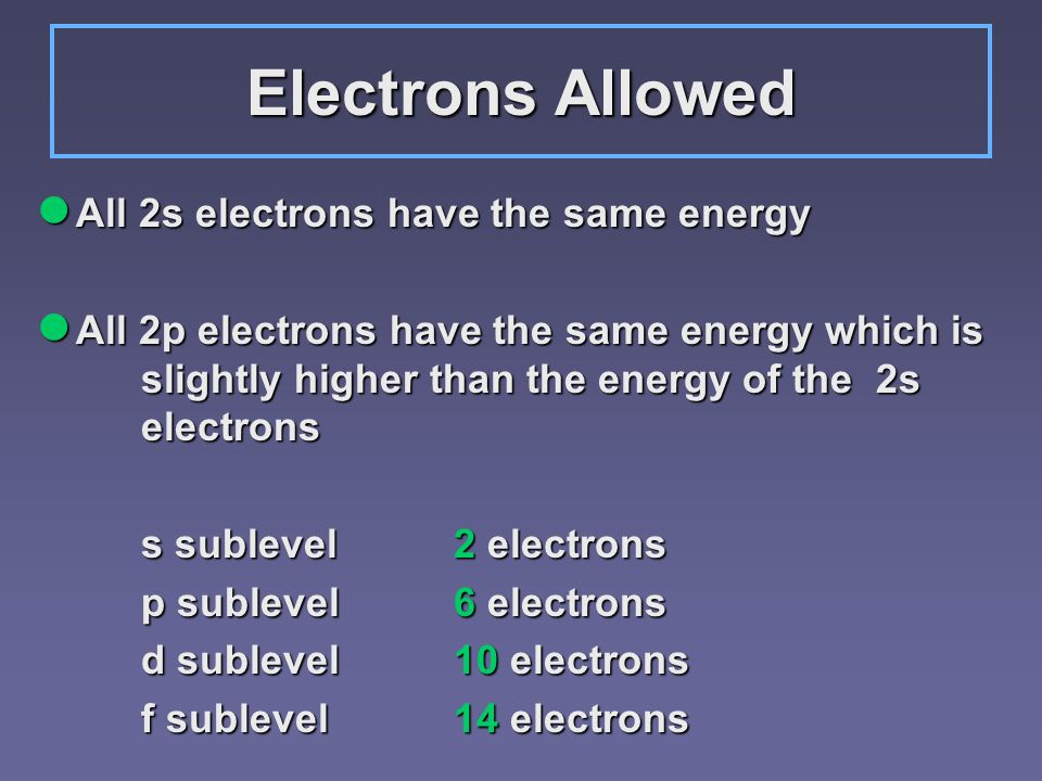 Electrons Allowed All 2s electrons have the same energy All 2s electrons have the same energy All 2p electrons have the same energy which is slightly