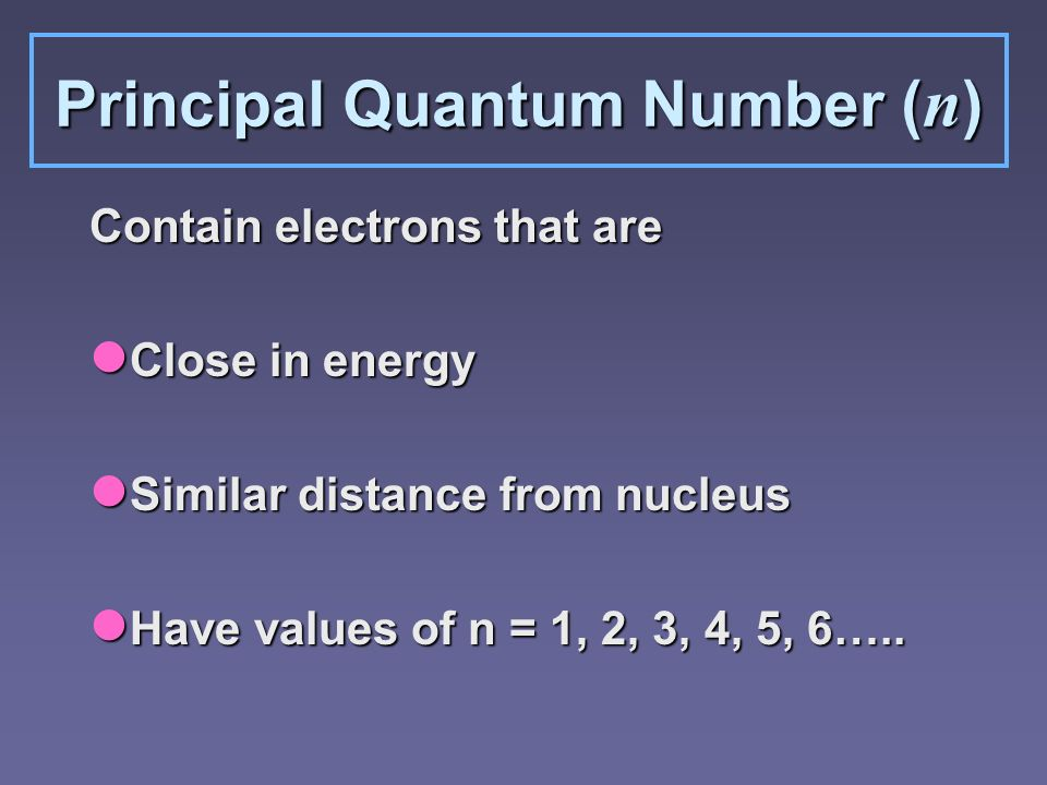 Quantum Numbers zn=# of energy sublevels per energy level zn 2 =# of orbitals per energy level zSublevel sets: 1 s, 3 p, 5 d, 7 f