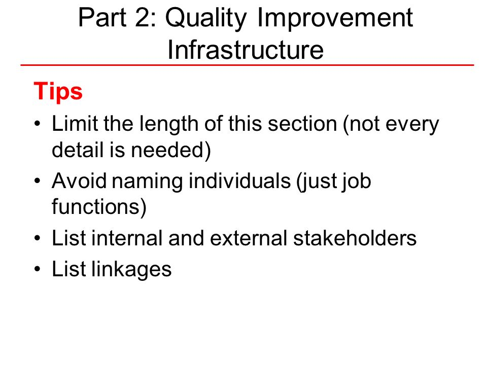 45National Quality Center (NQC) Part 3: Performance Measurement Tips In developing quality indicators, remember: – relevance – measurability – accuracy – improvability Include the process for reviewing and updating indicators (who/when/how) Include strategies to report and disseminate results and findings