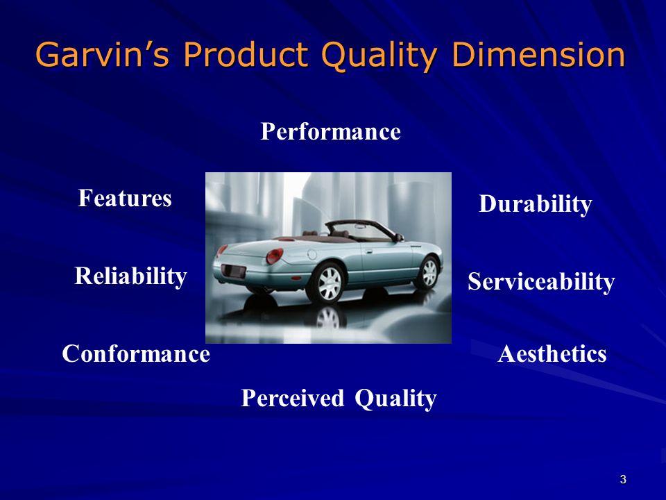 3 Garvins Product Quality Dimension Garvins Product Quality Dimension Performance Features Reliability Conformance Durability Serviceability Aesthetic