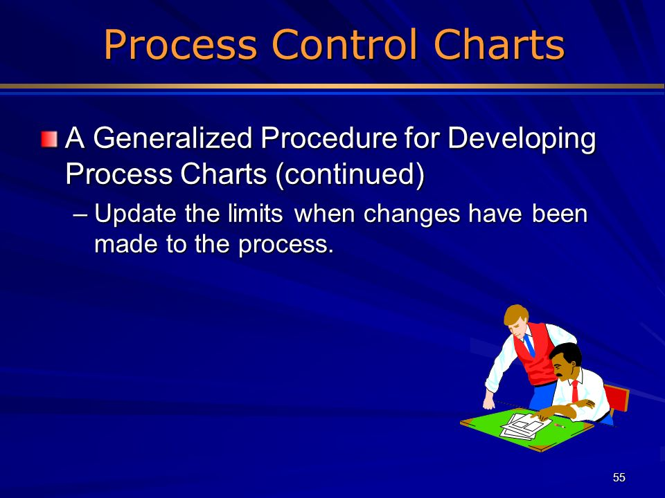 55 Process Control Charts Process Control Charts A Generalized Procedure for Developing Process Charts (continued) –Update the limits when changes hav