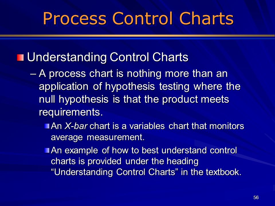 56 Process Control Charts Process Control Charts Understanding Control Charts –A process chart is nothing more than an application of hypothesis testi