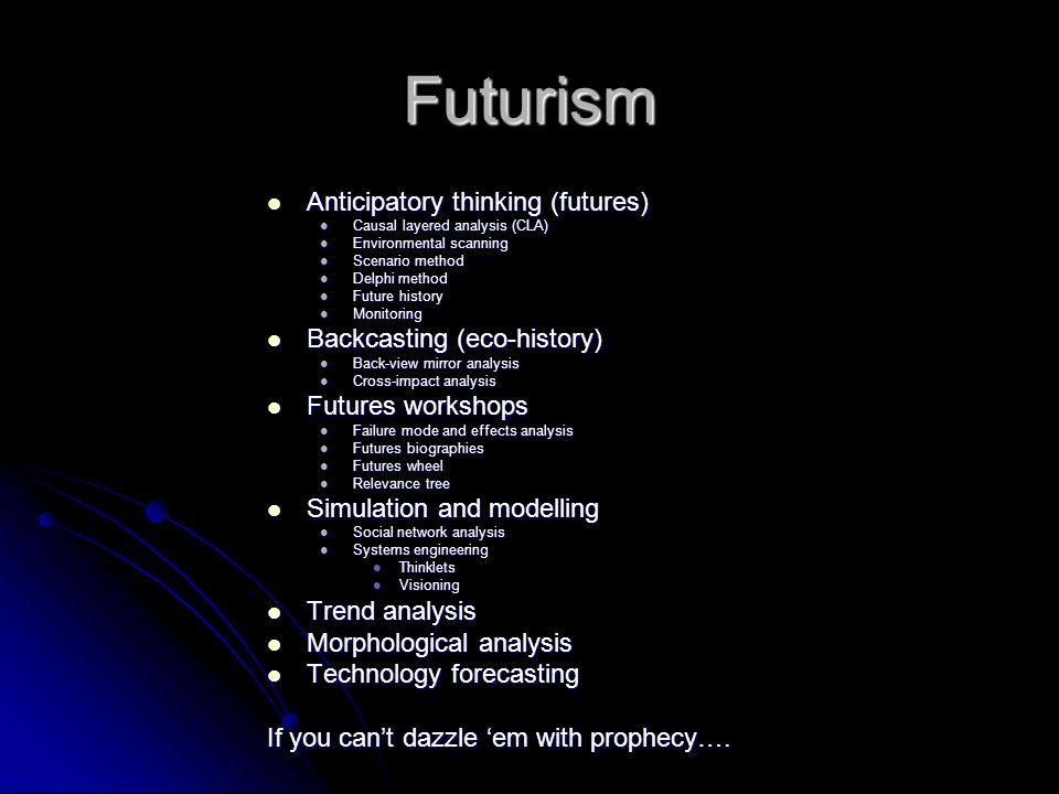 Futurism An increasingly dismal science An increasingly dismal science Wild cards (Asimovs Mule) Wild cards (Asimovs Mule) Butterfly effects (chaos th