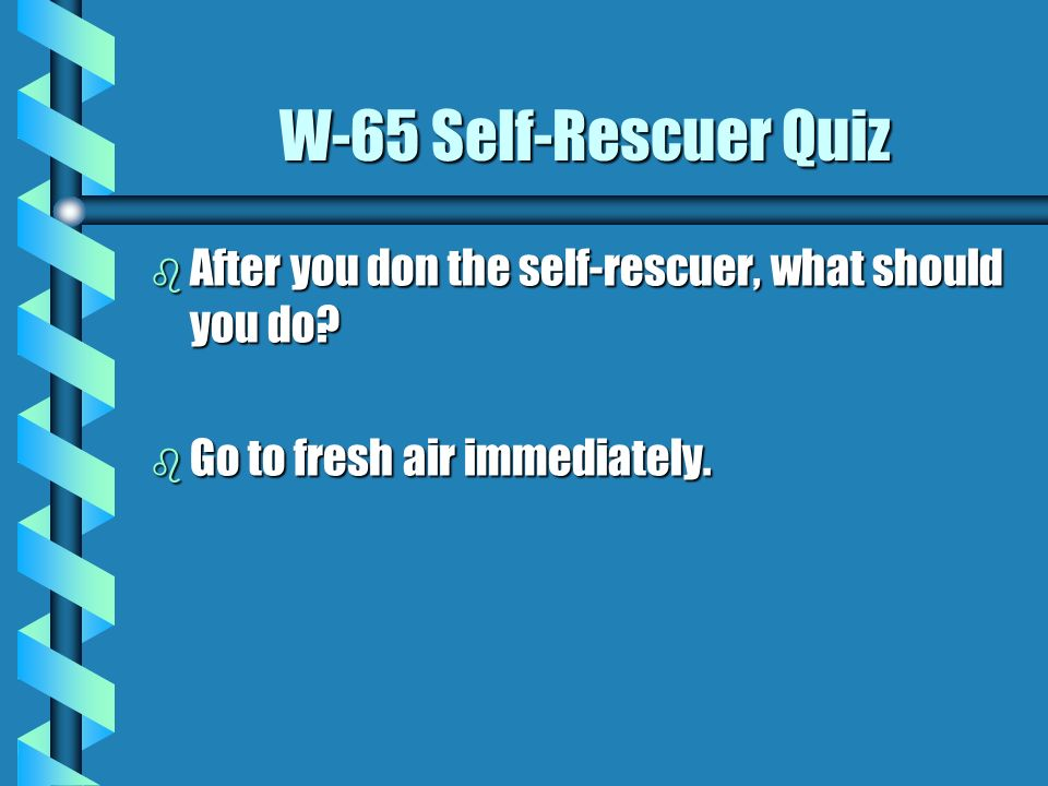 W-65 Self-Rescuer Quiz b From what gases does the self-rescuer protect you? b The self-rescuer is designed to protect the wearer from carbon monoxide