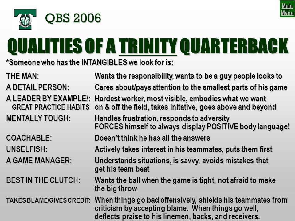 BLITZ, UNCOVERED, & THE NUMBERS GAME QBS 2006 The other way they can outnumber our protection is to take the JACK safety out of the middle to either be the extra rusher, or to cover one of our receivers so that someone else can rush …for 6 available blockers (5 OL + 1 RB) 12 3 4 5 6 12 3 5 4 With only 4 now committed to coverage… 7 rushers are now available 1234 56 6= 6 7 7> Know The Plan Main Menu Main Menu