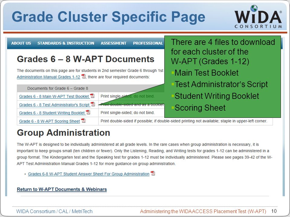 Administering the WIDA ACCESS Placement Test (W-APT) 10 WIDA Consortium / CAL / MetriTech Grade Cluster Specific Page There are 4 files to download fo