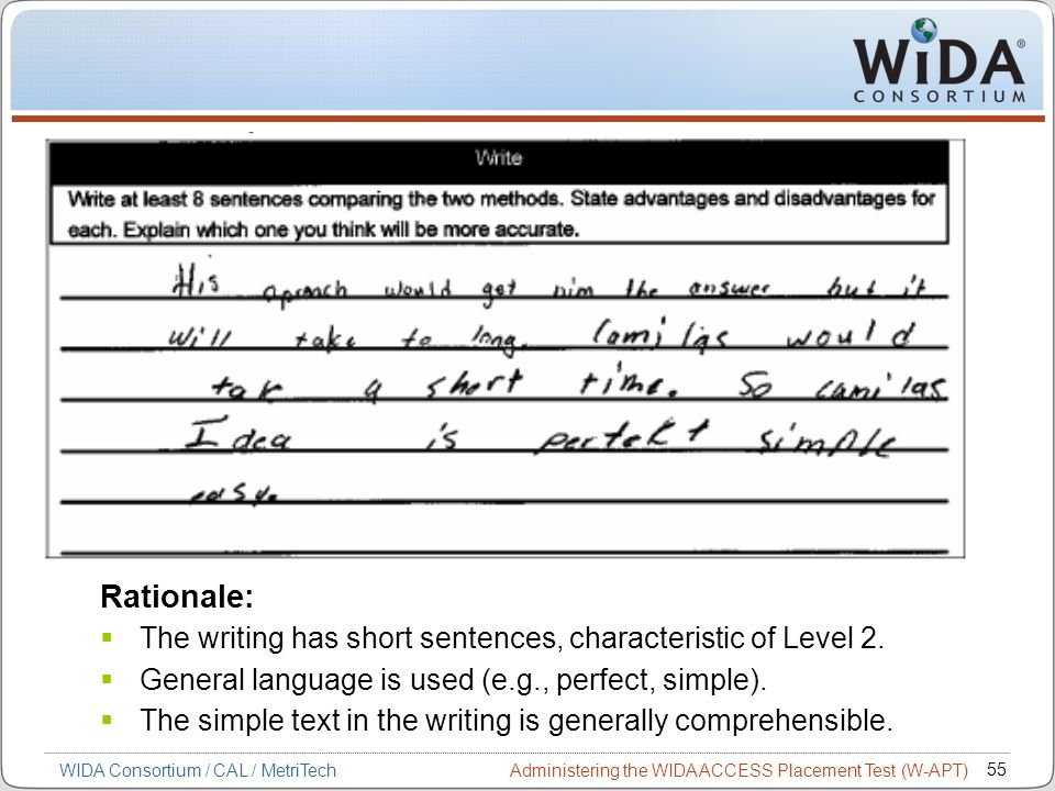 Administering the WIDA ACCESS Placement Test (W-APT) 55 WIDA Consortium / CAL / MetriTech Rationale: The writing has short sentences, characteristic o