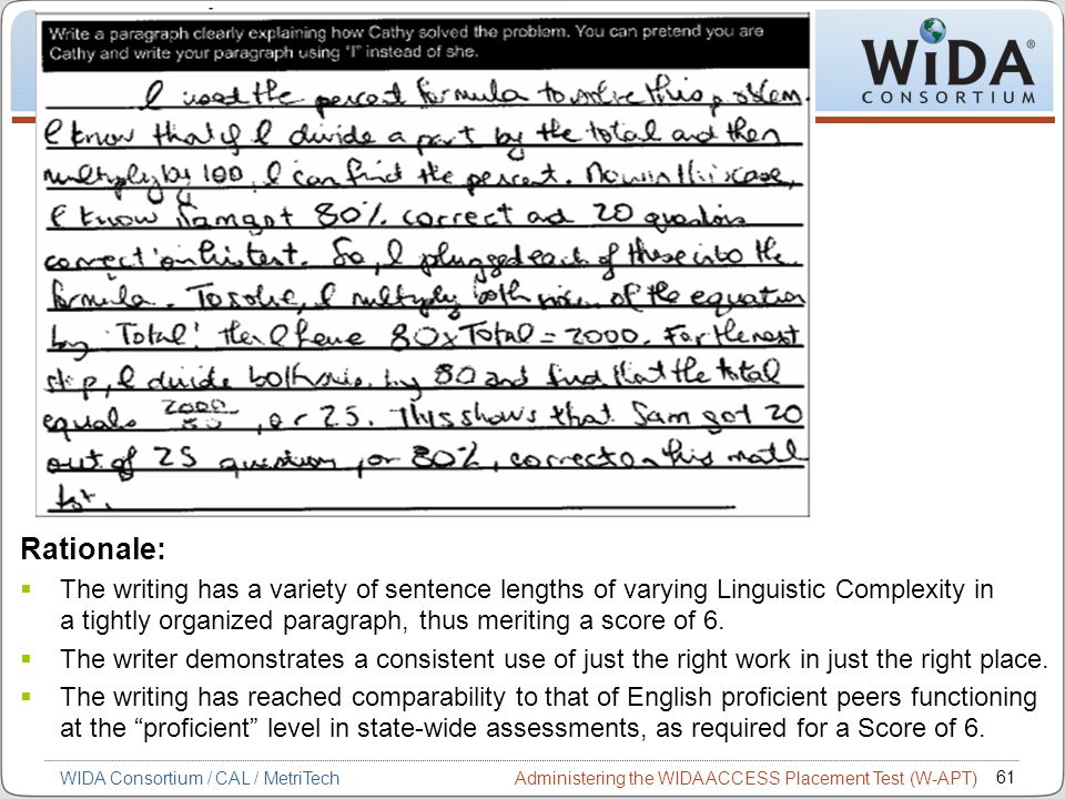 Administering the WIDA ACCESS Placement Test (W-APT) 61 WIDA Consortium / CAL / MetriTech Rationale: The writing has a variety of sentence lengths of