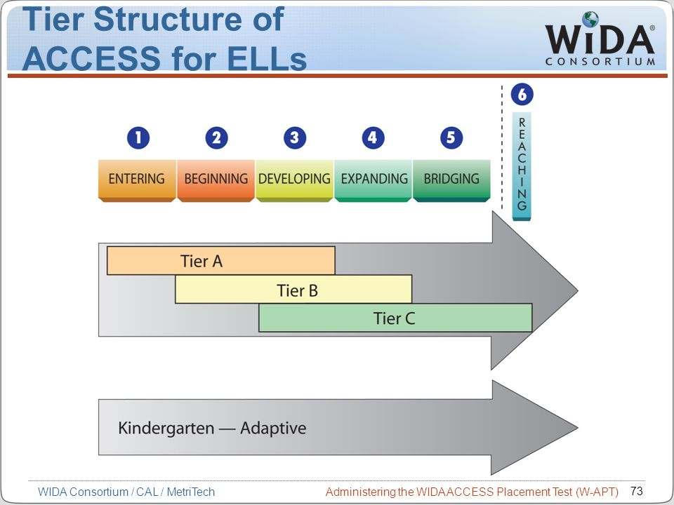 Administering the WIDA ACCESS Placement Test (W-APT) 73 WIDA Consortium / CAL / MetriTech Tier Structure of ACCESS for ELLs