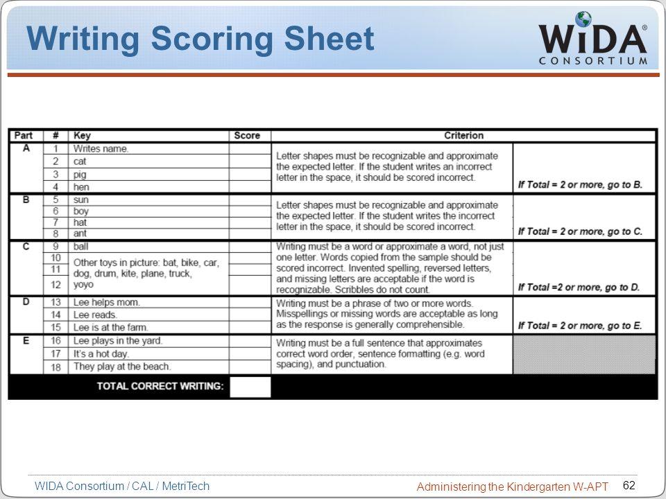 62 WIDA Consortium / CAL / MetriTech Administering the Kindergarten W-APT Writing Scoring Sheet